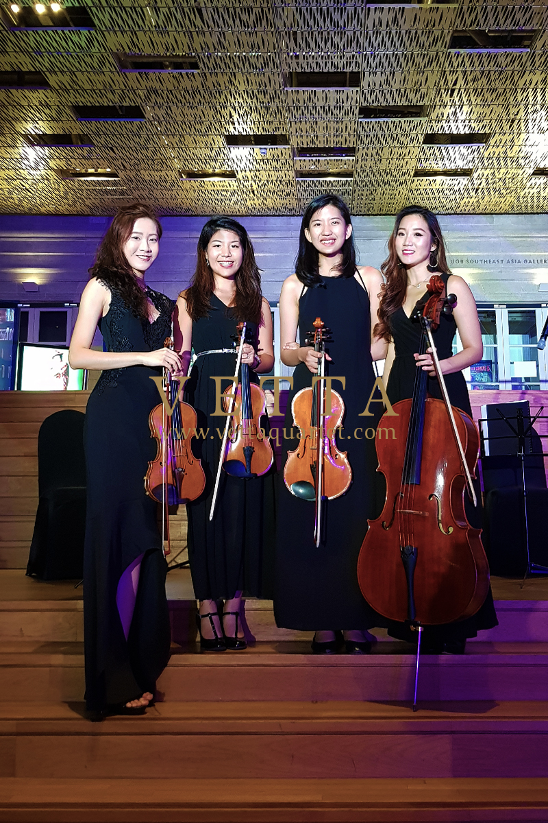 ESTA Quartet playing background music at National Gallery Supreme Court Terrace Singapore